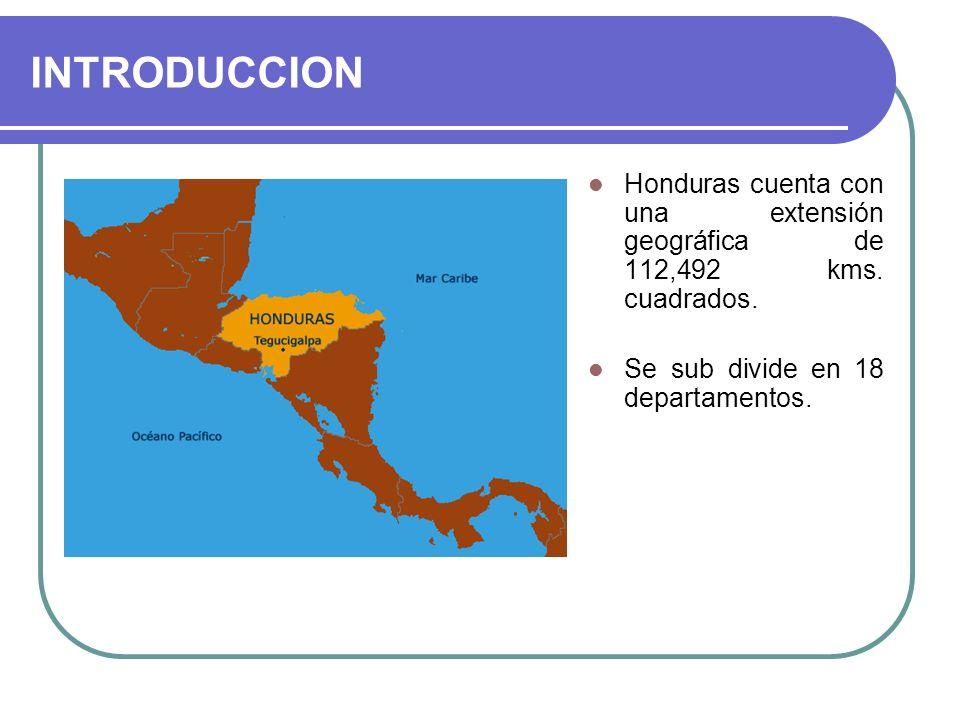 INTRODUCCIONHonduras cuenta con una extensión geográfica de 112,492 kms.