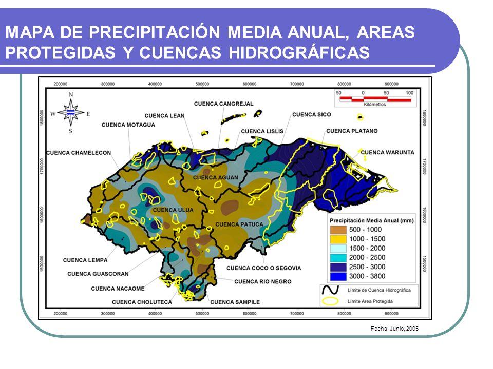 MAPA DE PRECIPITACIÓN MEDIA ANUAL, AREAS PROTEGIDAS Y CUENCAS HIDROGRÁFICAS
