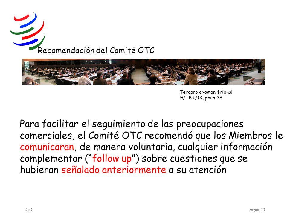 Recomendación del Comité OTC