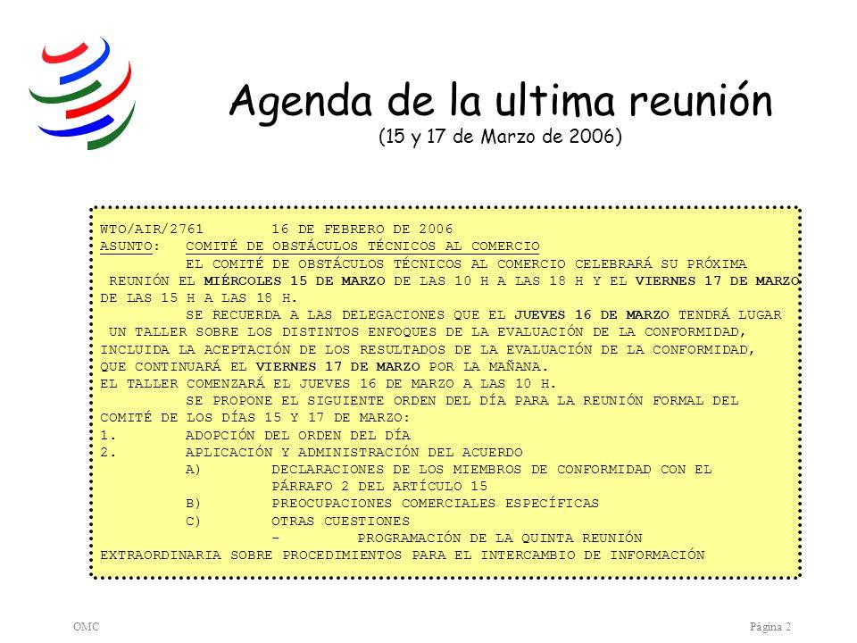 Agenda de la ultima reunión (15 y 17 de Marzo de 2006)