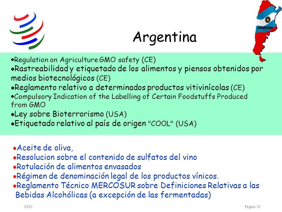 Argentina Regulation on Agriculture GMO safety (CE) Rastreabilidad y etiquetado de los alimentos y piensos obtenidos por medios biotecnológicos (CE)