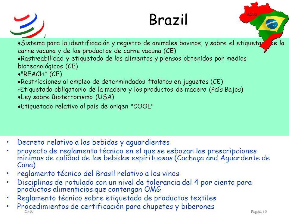 Brazil Decreto relativo a las bebidas y aguardientes