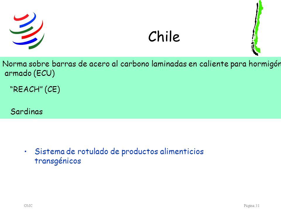 Chile Norma sobre barras de acero al carbono laminadas en caliente para hormigón. armado (ECU) REACH (CE)
