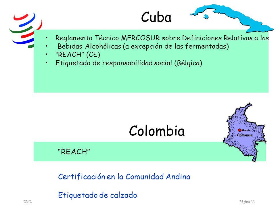 Cuba Colombia REACH Certificación en la Comunidad Andina