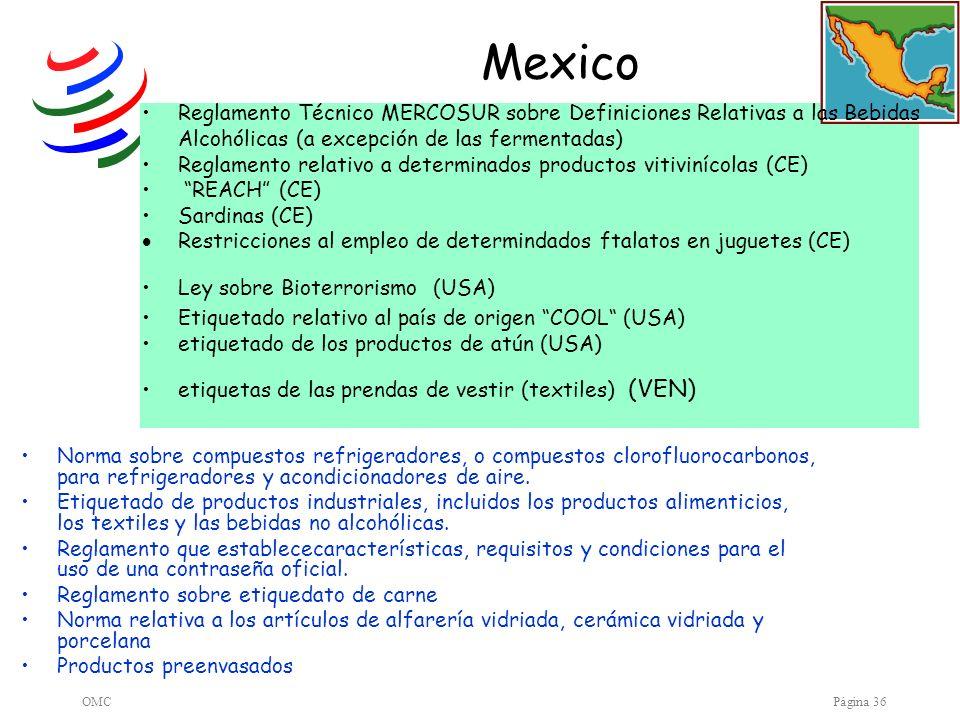 Mexico Reglamento Técnico MERCOSUR sobre Definiciones Relativas a las Bebidas Alcohólicas (a excepción de las fermentadas)