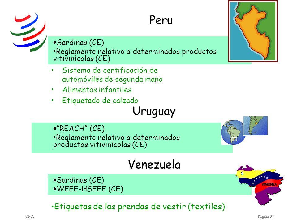 Peru Uruguay Venezuela Etiquetas de las prendas de vestir (textiles)