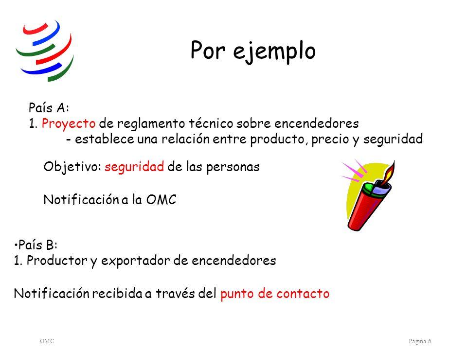 Por ejemplo País A: 1. Proyecto de reglamento técnico sobre encendedores. - establece una relación entre producto, precio y seguridad.