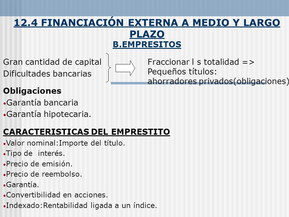 12.4 FINANCIACIÓN EXTERNA A MEDIO Y LARGO PLAZO B.EMPRESITOS