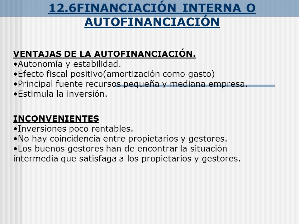 12.6FINANCIACIÓN INTERNA O AUTOFINANCIACIÓN