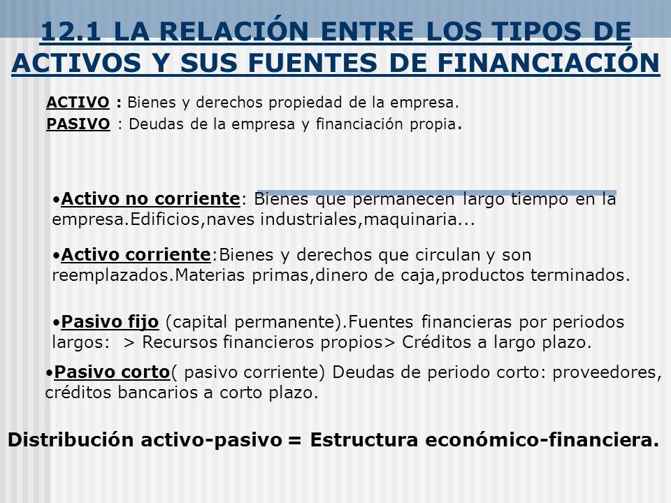 12.1 LA RELACIÓN ENTRE LOS TIPOS DE ACTIVOS Y SUS FUENTES DE FINANCIACIÓN