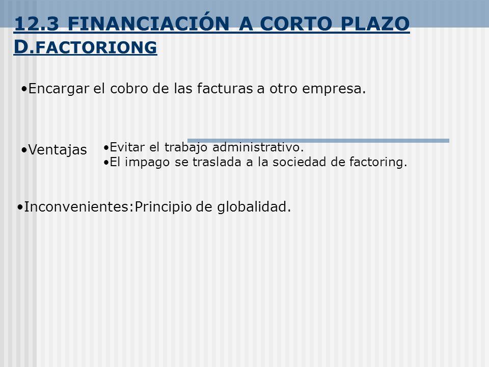 12.3 FINANCIACIÓN A CORTO PLAZO D.FACTORIONG