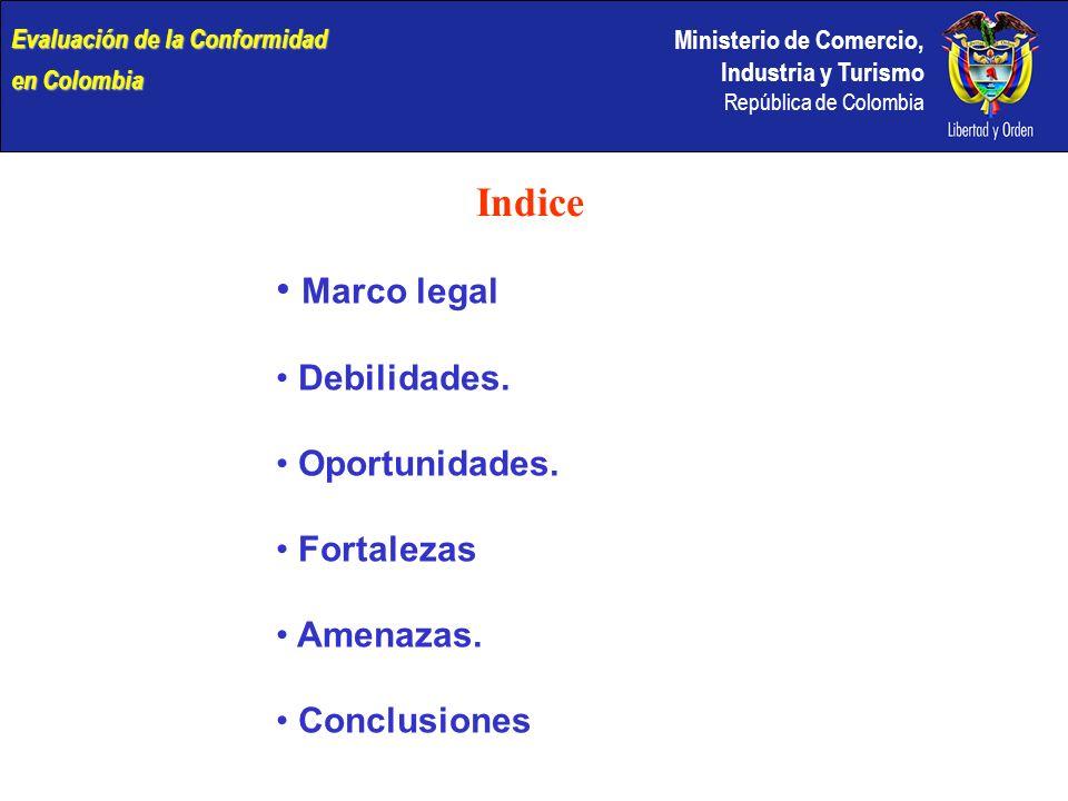 Indice Marco legal Debilidades. Oportunidades. Fortalezas Amenazas.