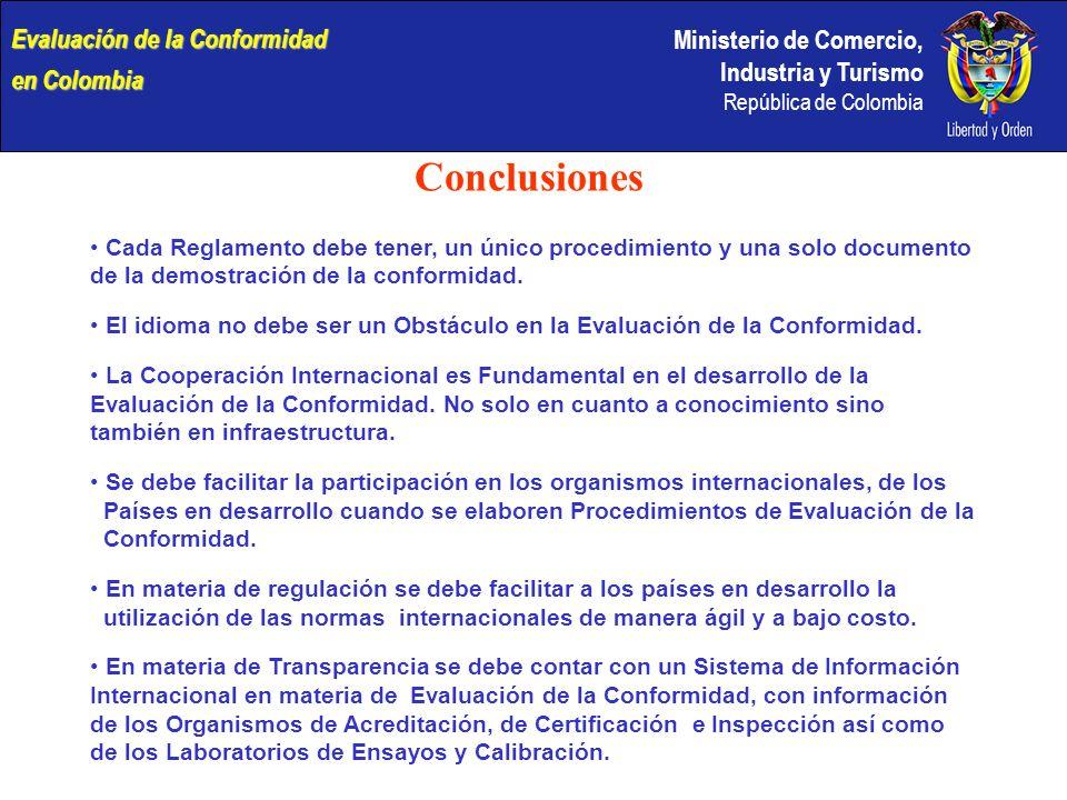 Conclusiones Evaluación de la Conformidad en Colombia