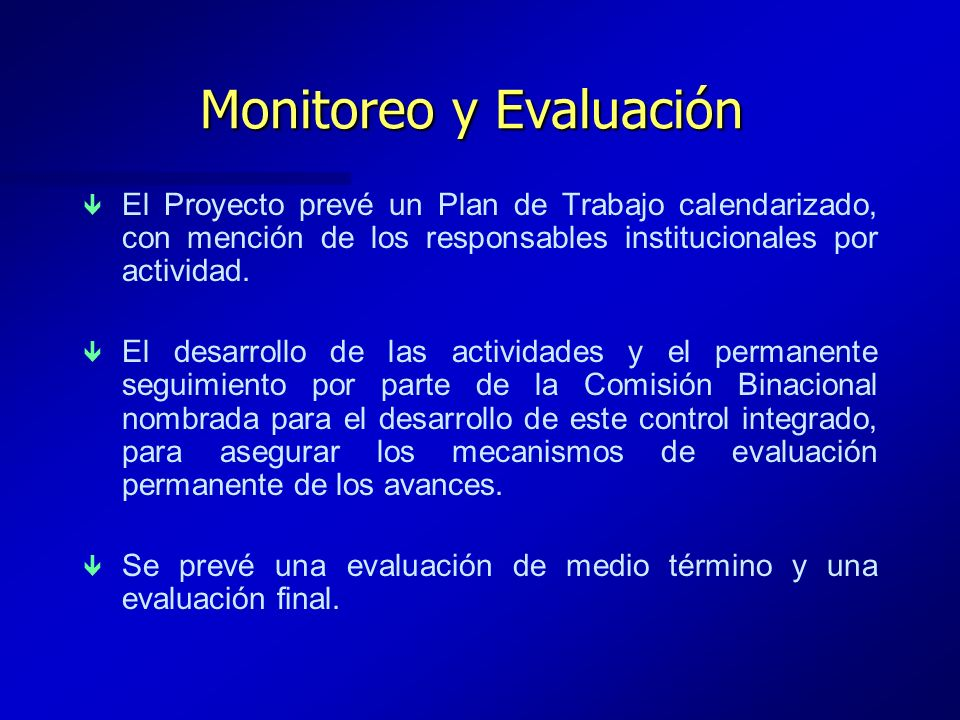 Monitoreo y Evaluación