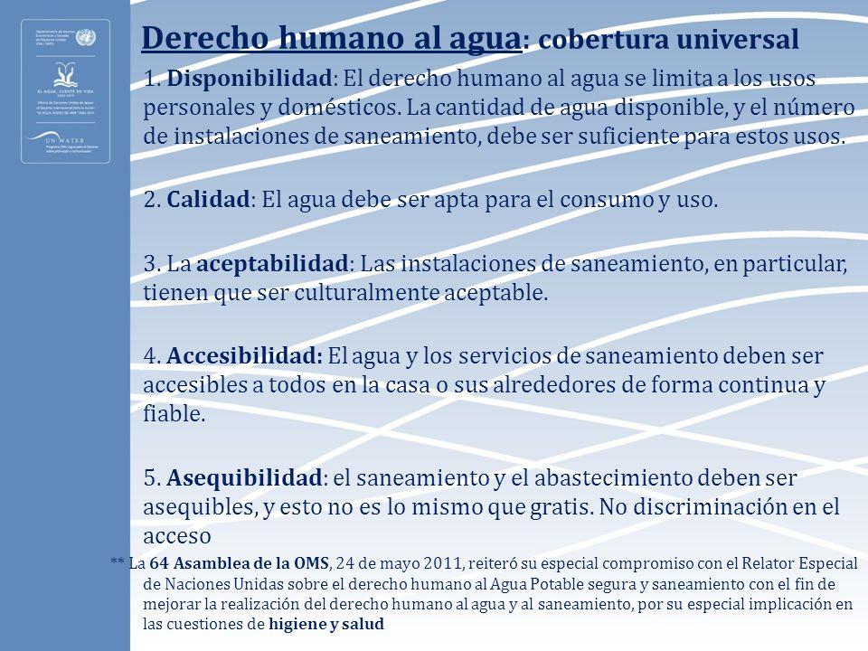 Derecho humano al agua: cobertura universal