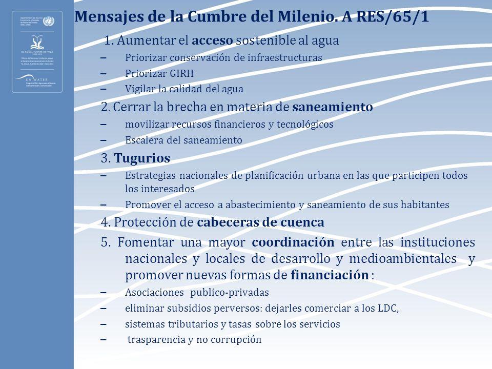 Mensajes de la Cumbre del Milenio. A RES/65/1