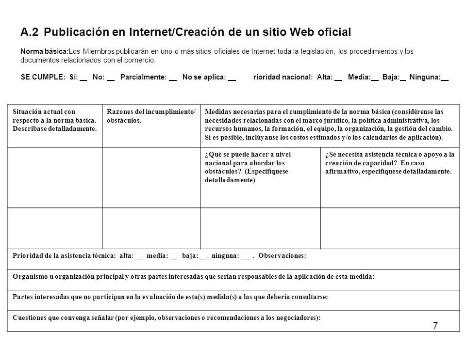 A.2 Publicación en Internet/Creación de un sitio Web oficial