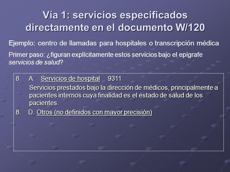 Vía 1: servicios especificados directamente en el documento W/120