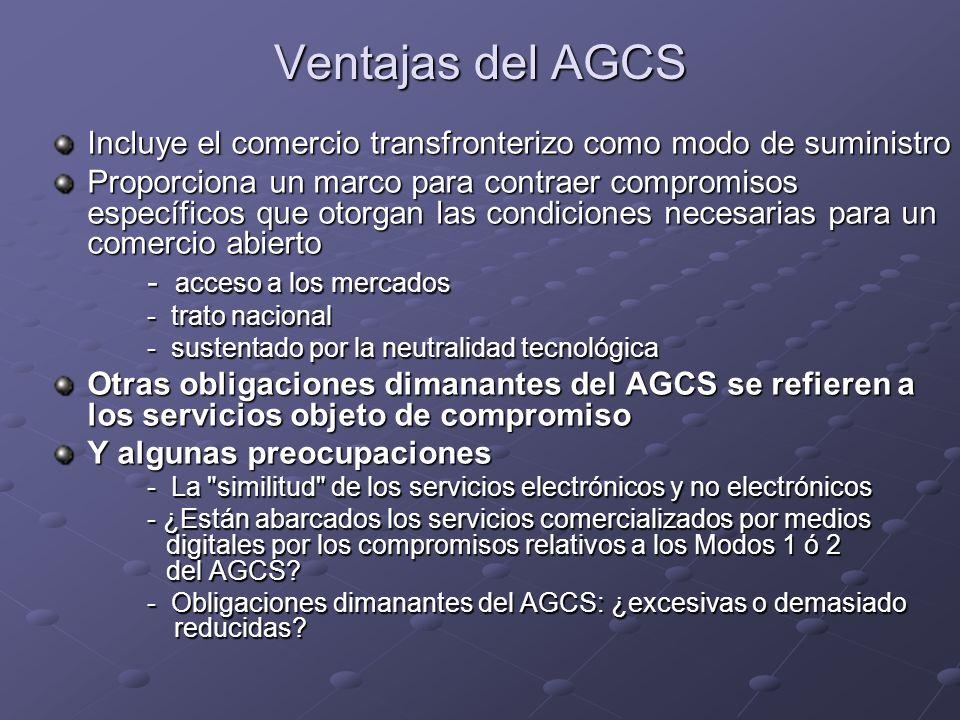Ventajas del AGCS Incluye el comercio transfronterizo como modo de suministro.