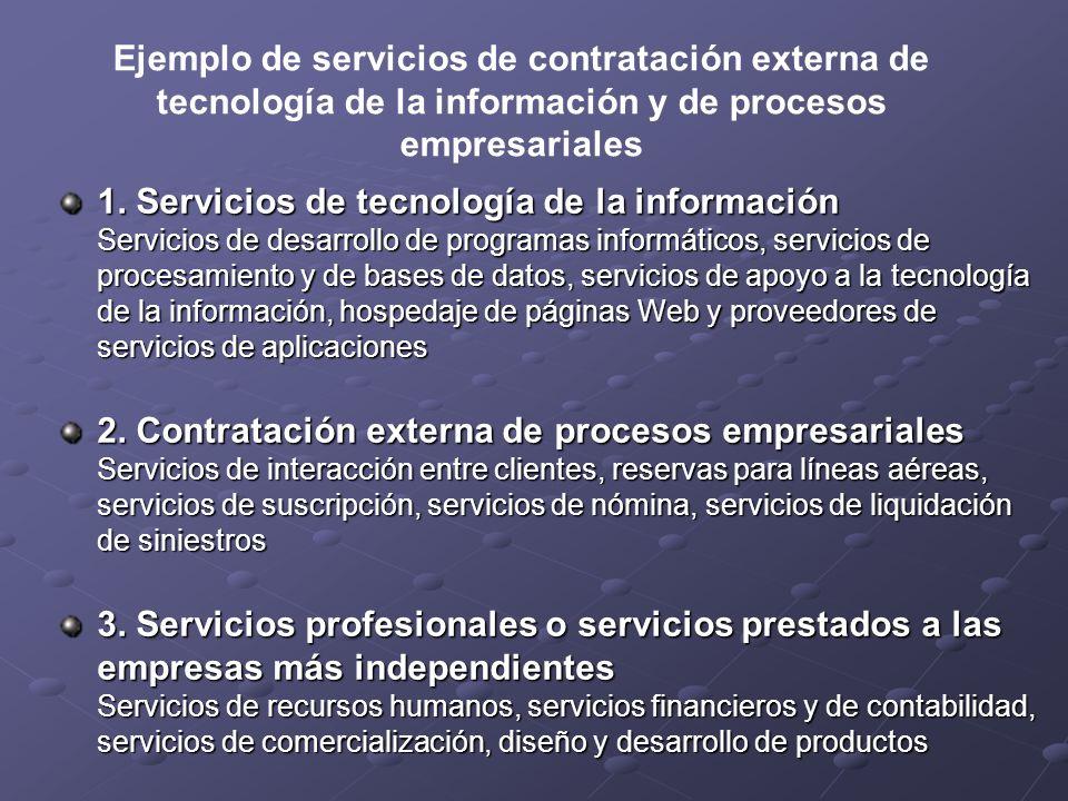 Ejemplo de servicios de contratación externa de tecnología de la información y de procesos empresariales