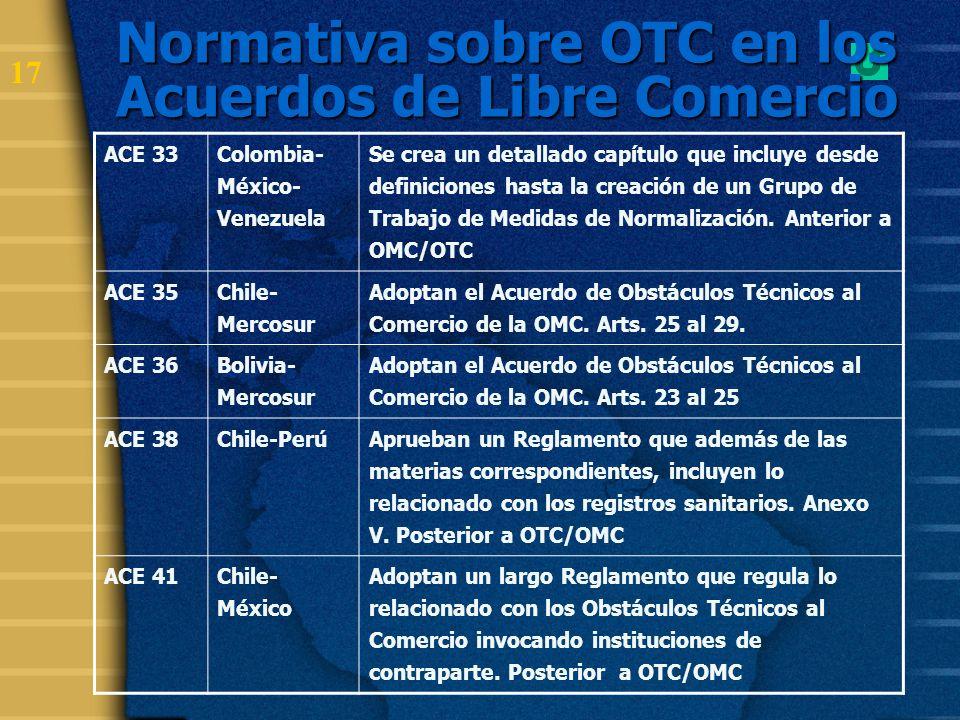 Normativa sobre OTC en los Acuerdos de Libre Comercio