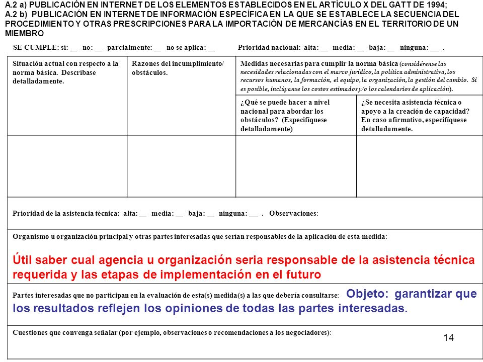 A.2 a) PUBLICACIÓN EN INTERNET DE LOS ELEMENTOS ESTABLECIDOS EN EL ARTÍCULO X DEL GATT DE 1994; A.2 b) PUBLICACIÓN EN INTERNET DE INFORMACIÓN ESPECÍFICA EN LA QUE SE ESTABLECE LA SECUENCIA DEL PROCEDIMIENTO Y OTRAS PRESCRIPCIONES PARA LA IMPORTACIÓN DE MERCANCÍAS EN EL TERRITORIO DE UN MIEMBRO