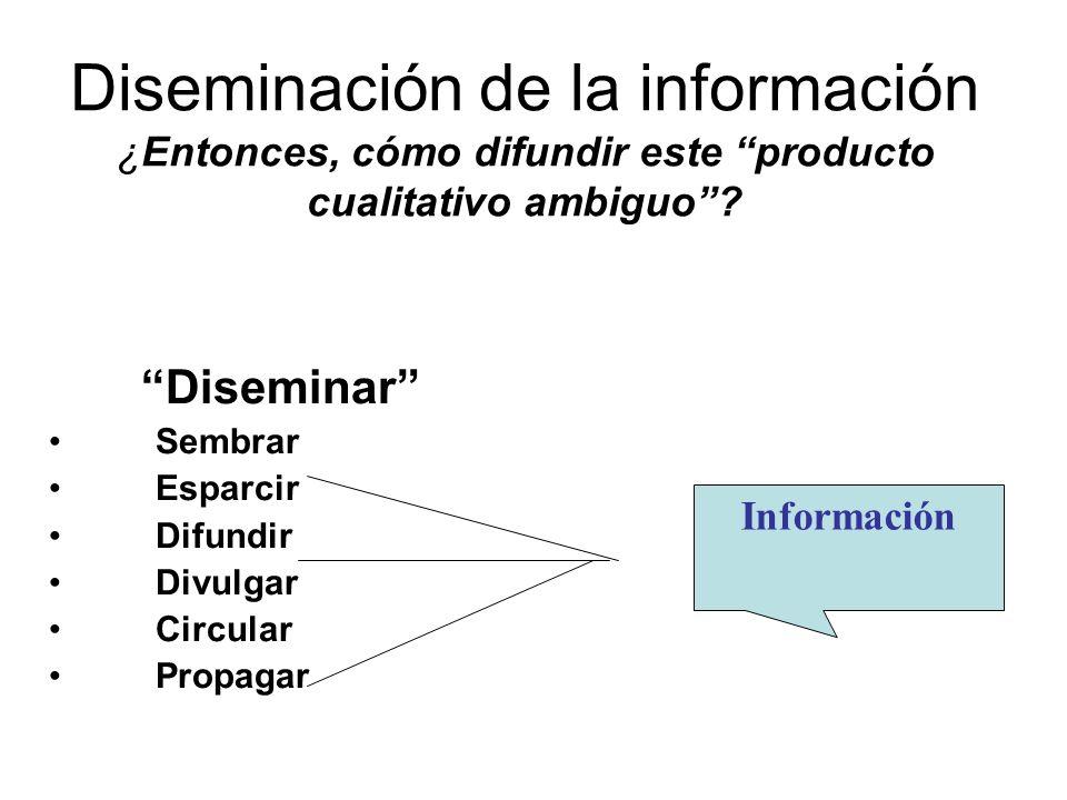 Diseminación de la información ¿Entonces, cómo difundir este producto cualitativo ambiguo