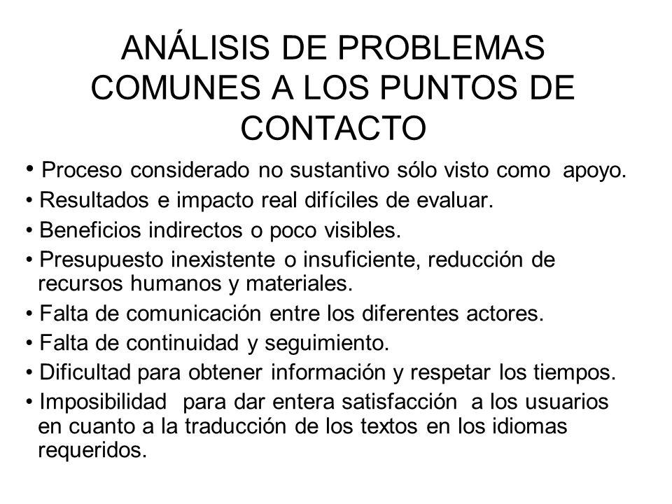 ANÁLISIS DE PROBLEMAS COMUNES A LOS PUNTOS DE CONTACTO
