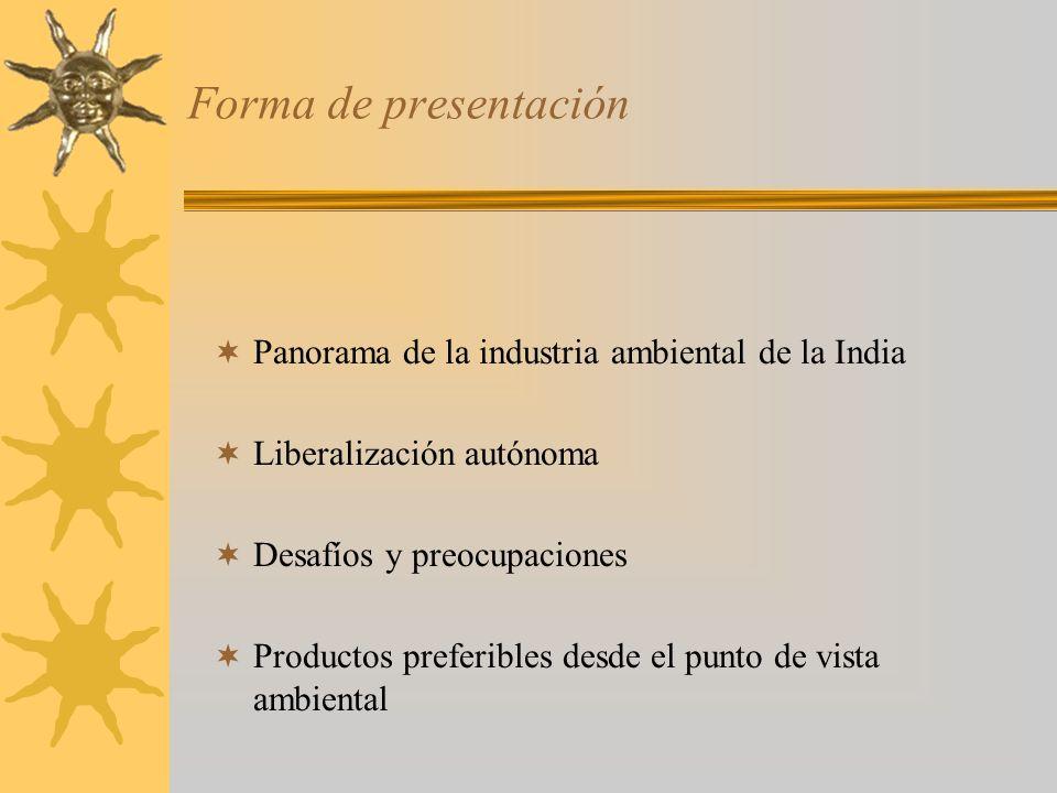 Forma de presentación Panorama de la industria ambiental de la India