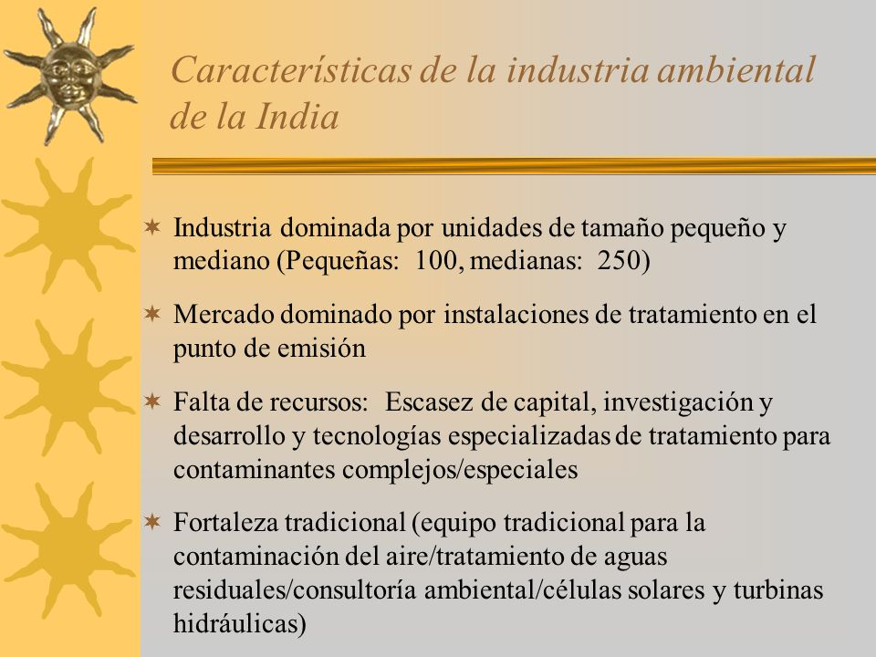 Características de la industria ambiental de la India