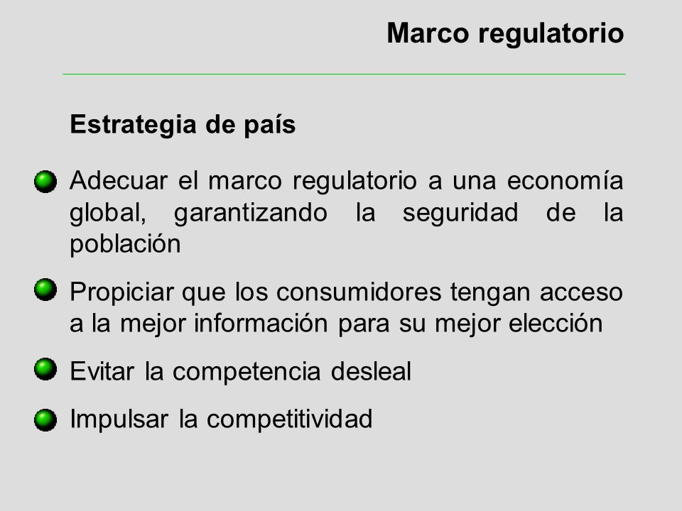 Marco regulatorio Estrategia de país