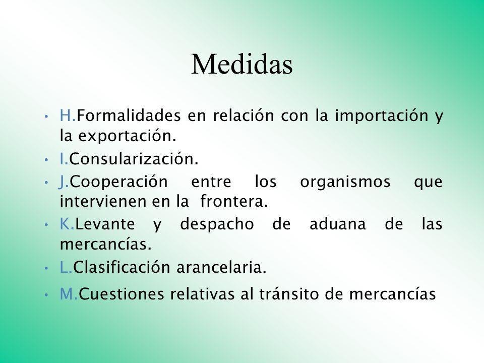 Medidas H.Formalidades en relación con la importación y la exportación. I.Consularización.