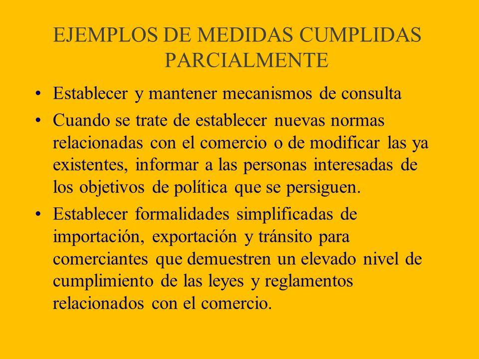EJEMPLOS DE MEDIDAS CUMPLIDAS PARCIALMENTE