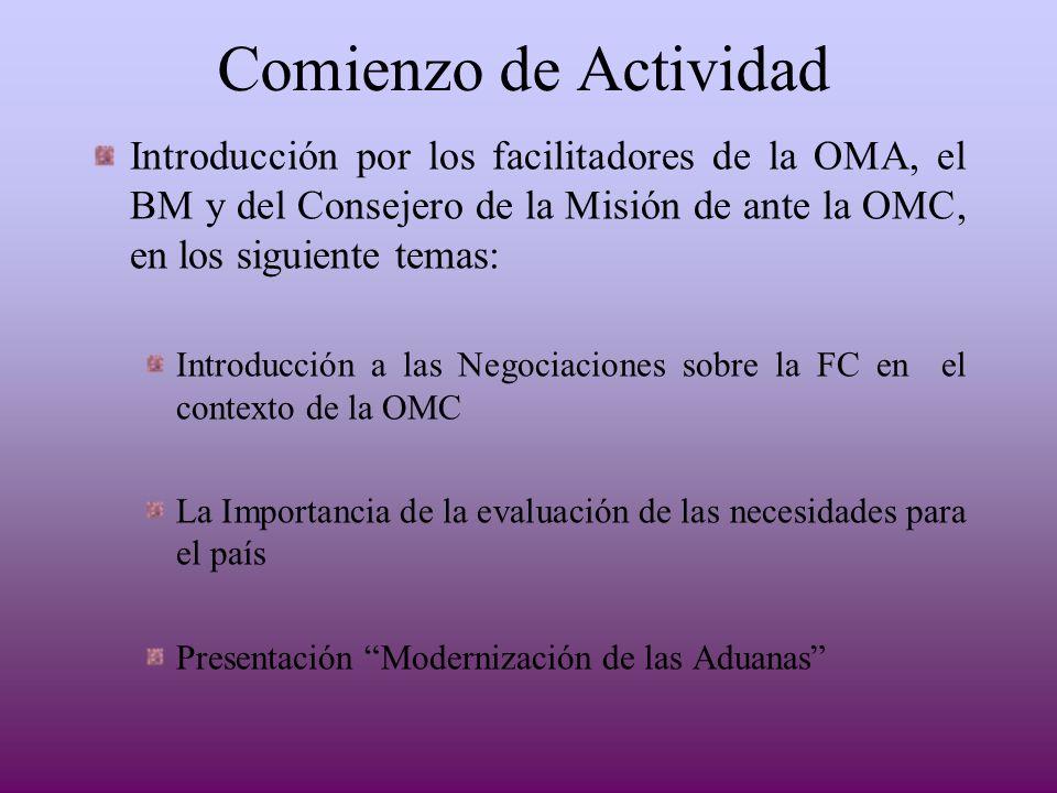 Comienzo de ActividadIntroducción por los facilitadores de la OMA, el BM y del Consejero de la Misión de ante la OMC, en los siguiente temas: