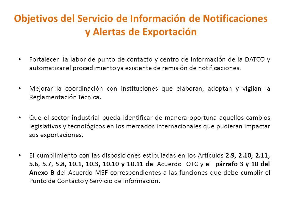 Objetivos del Servicio de Información de Notificaciones y Alertas de Exportación