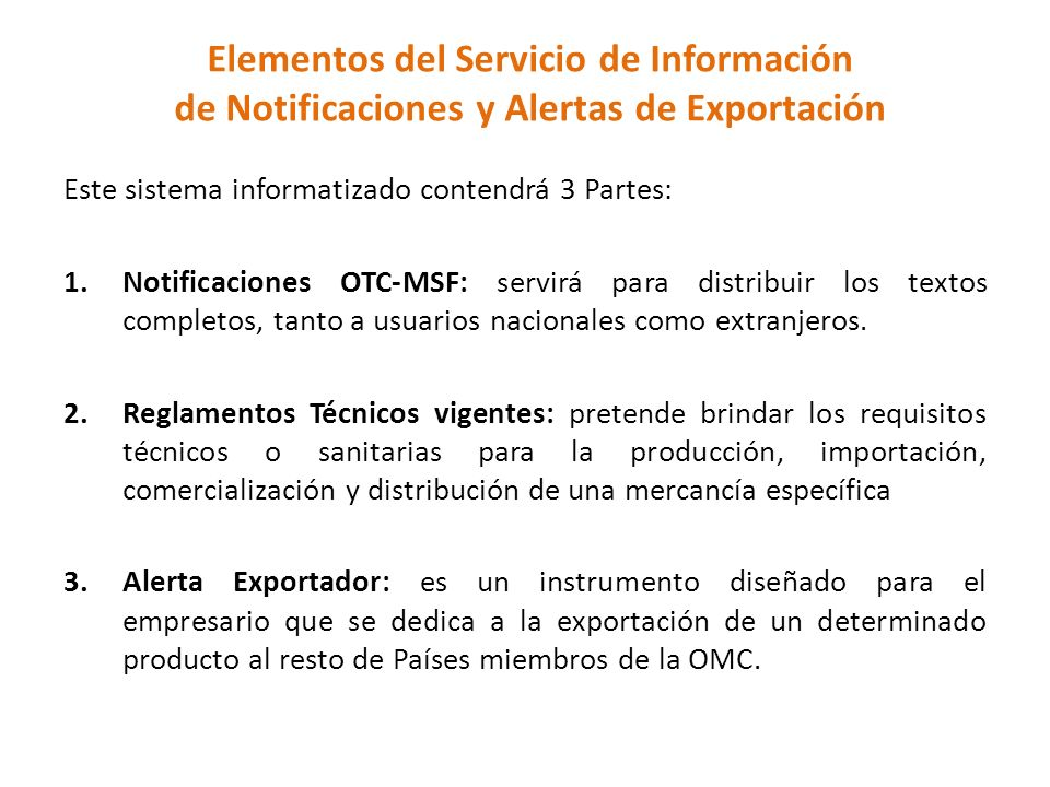 Elementos del Servicio de Información de Notificaciones y Alertas de Exportación