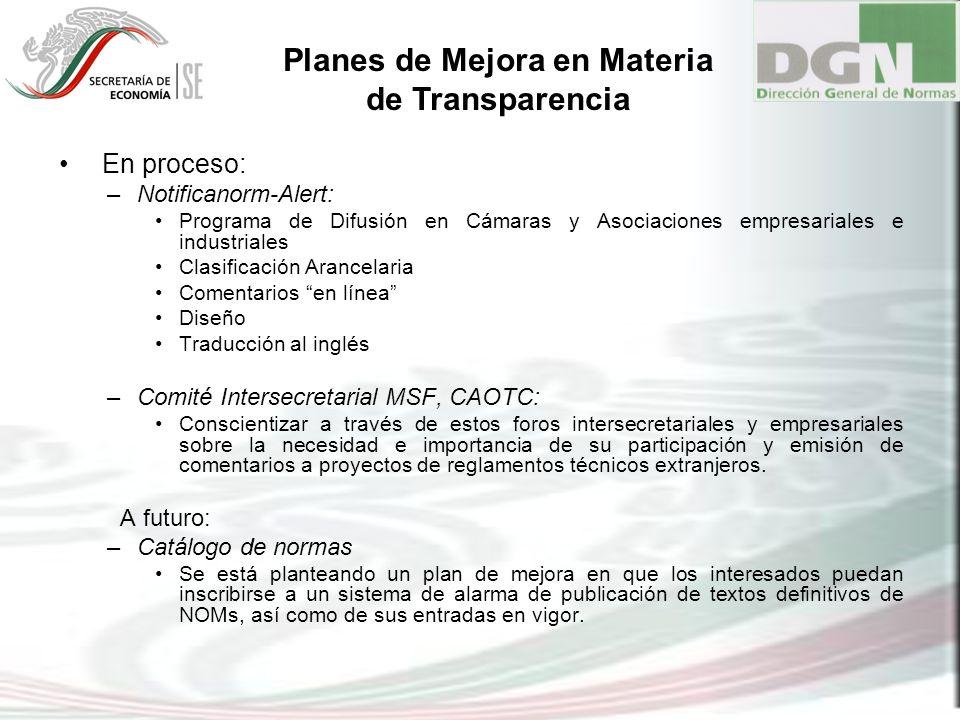 Planes de Mejora en Materia de Transparencia