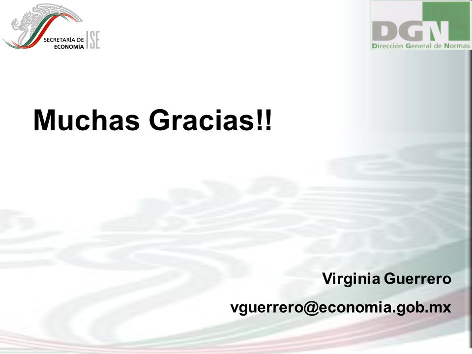 Muchas Gracias!! Virginia Guerrero vguerrero@economia.gob.mx