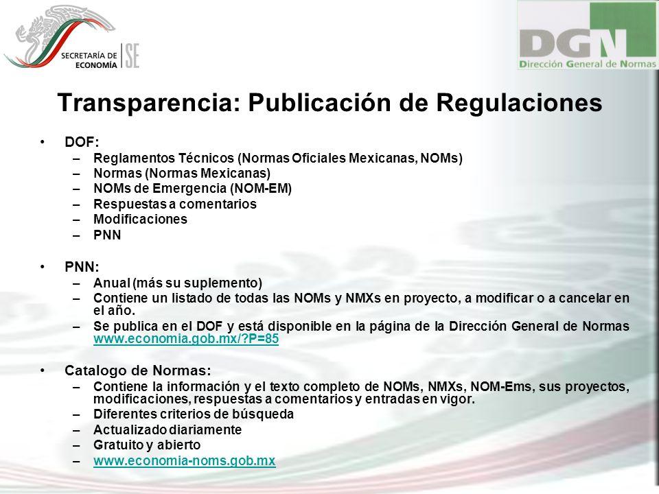 Transparencia: Publicación de Regulaciones