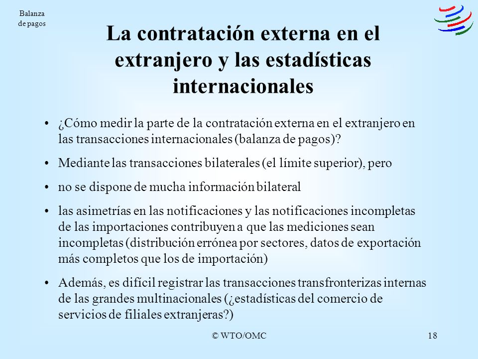 Balanza de pagos La contratación externa en el extranjero y las estadísticas internacionales.