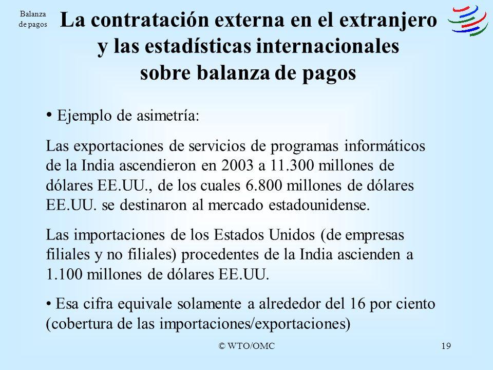 Balanza de pagosLa contratación externa en el extranjero y las estadísticas internacionales sobre balanza de pagos.