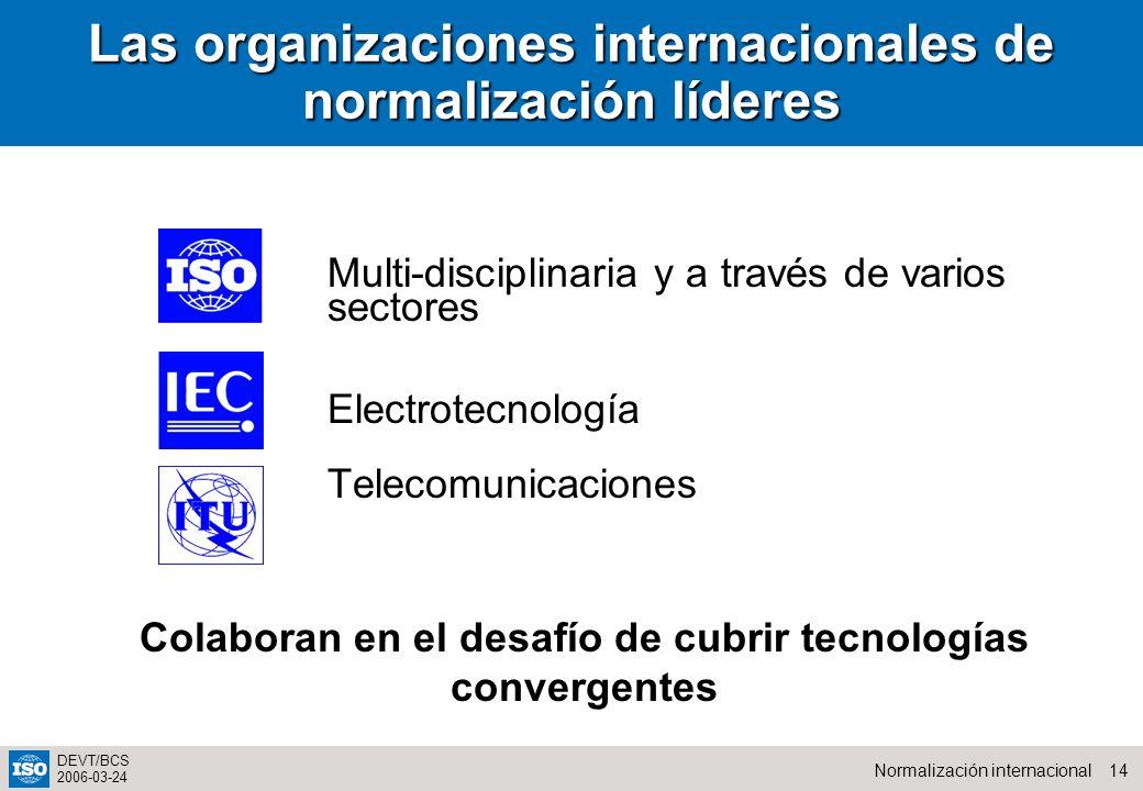 Las organizaciones internacionales de normalización líderes