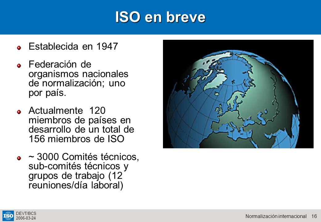 ISO en breve Establecida en 1947