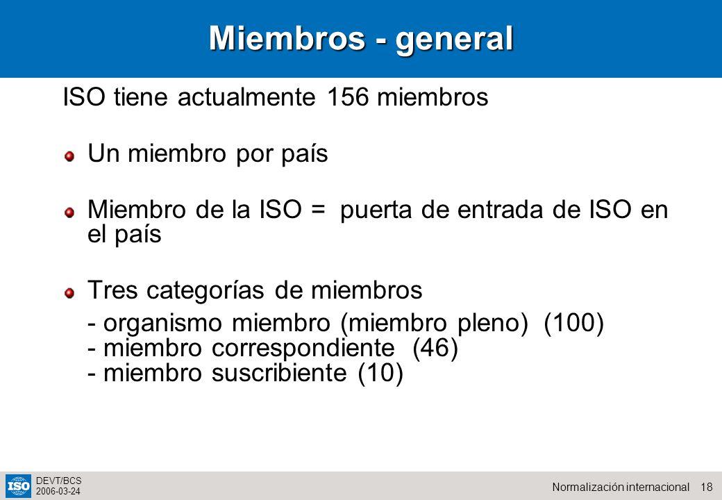 Miembros - general ISO tiene actualmente 156 miembros