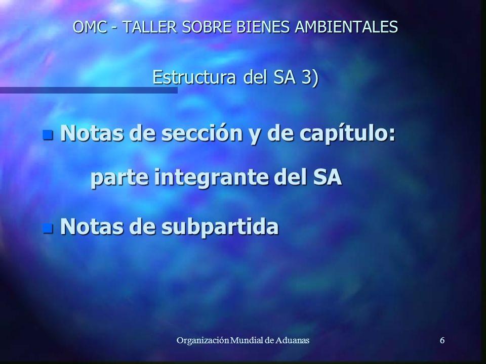 OMC - TALLER SOBRE BIENES AMBIENTALES Estructura del SA 3)