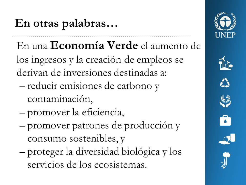 En otras palabras… En una Economía Verde el aumento de los ingresos y la creación de empleos se derivan de inversiones destinadas a: