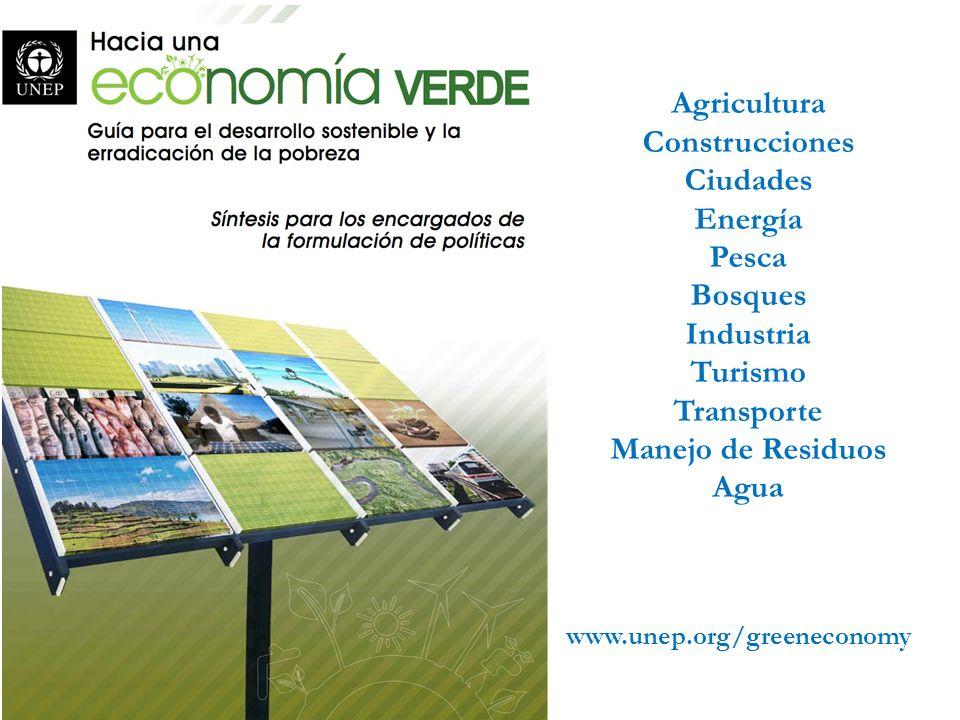 Agricultura Construcciones Ciudades Energía Pesca Bosques Industria