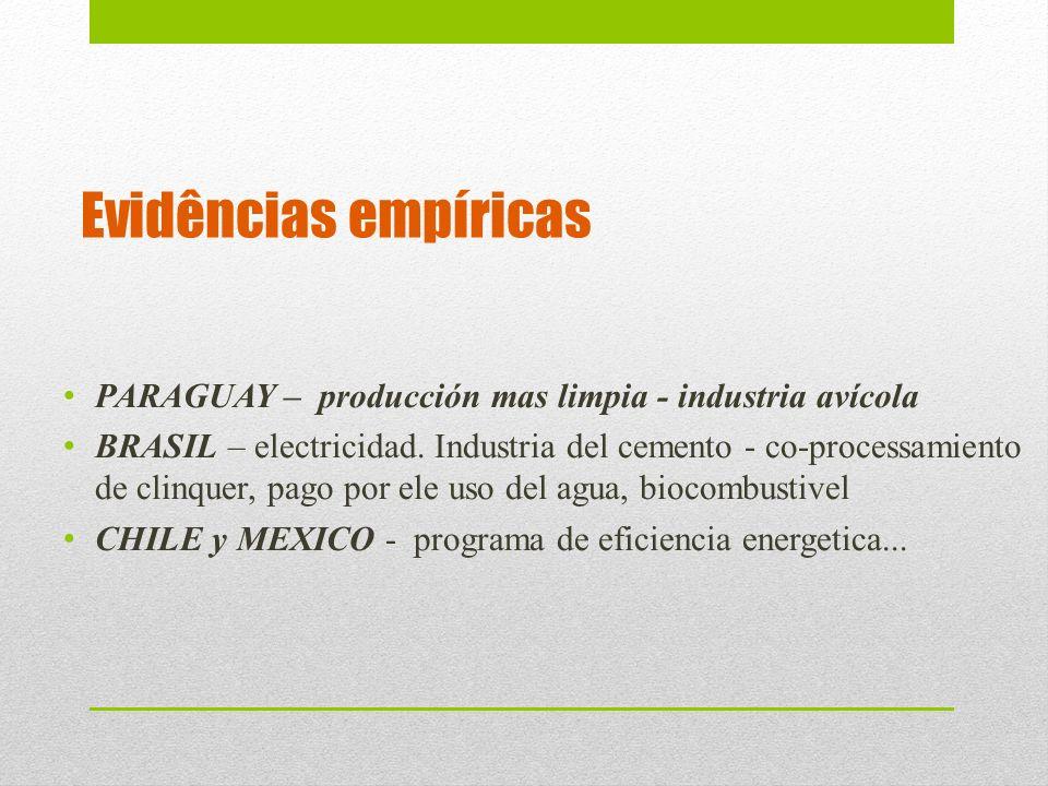 Evidências empíricas PARAGUAY – producción mas limpia - industria avícola.