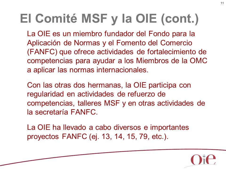 El Comité MSF y la OIE (cont.)