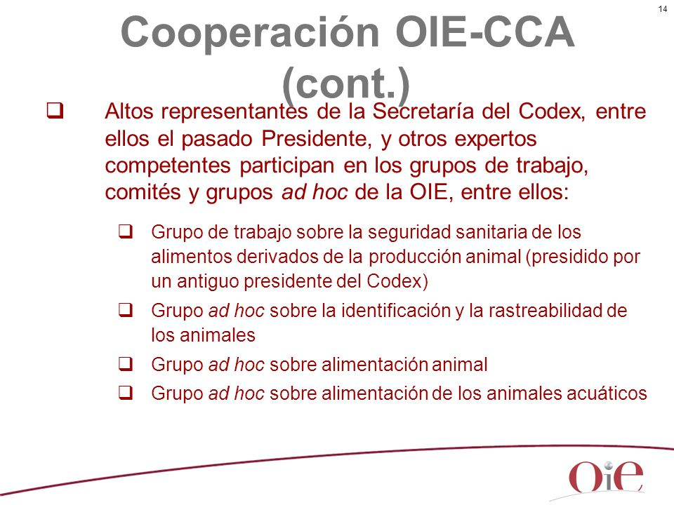 Cooperación OIE-CCA (cont.)